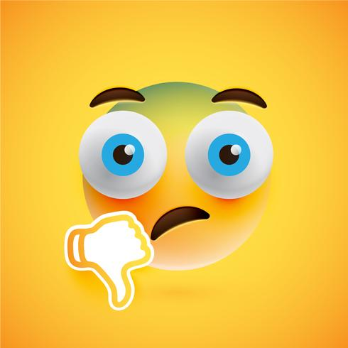 Emoticon with thumbs down, vector illustration