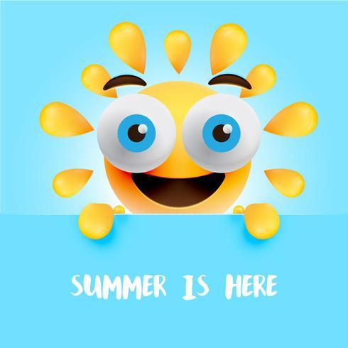 """Lustiger Sonnensmiley mit dem Titel """"Sommer ist hier"""", Vektorillustration"""