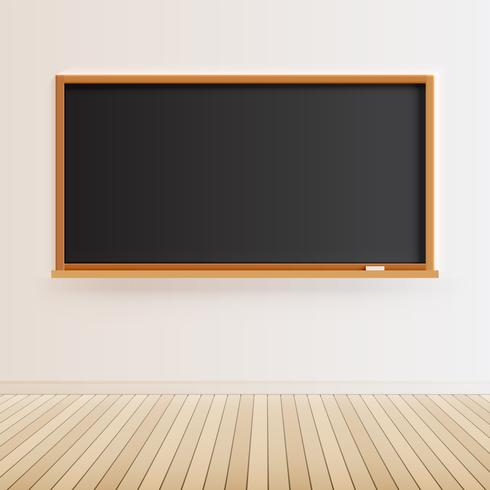 High detailed black chalkboard with wooden floor, vector illustration