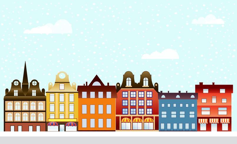 villaggio urbano natale decorato