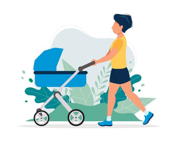 Hombre feliz con un carro de bebé en el parque. Vector el ejemplo en estilo plano, ejemplo del concepto para la forma de vida sana, maternidad.