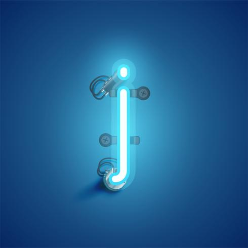 Blue realistic neon character with wires and console from a fontset, vector illustration