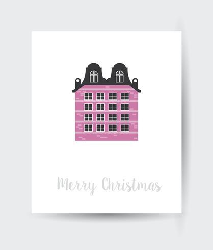 tarjeta de navidad de la ciudad plana vector