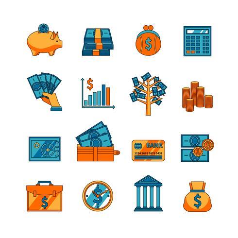 Conjunto de iconos planos de negocio de finanzas vector