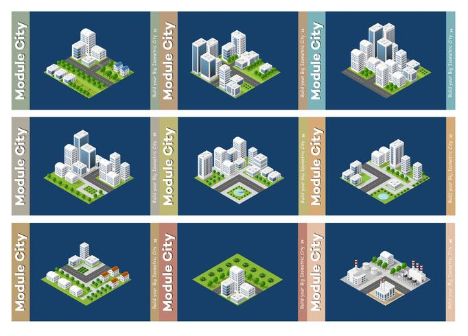 Set of urban areas of modules vector
