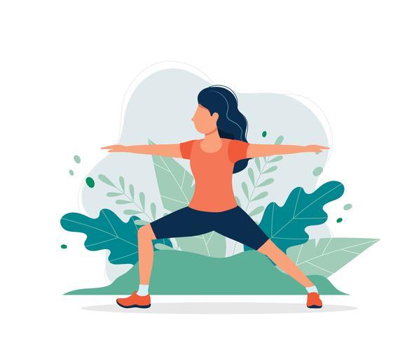 Mulher feliz exercitando no parque. Vector a ilustração no estilo liso, ilustração do conceito para o estilo de vida saudável, esporte, exercitando.