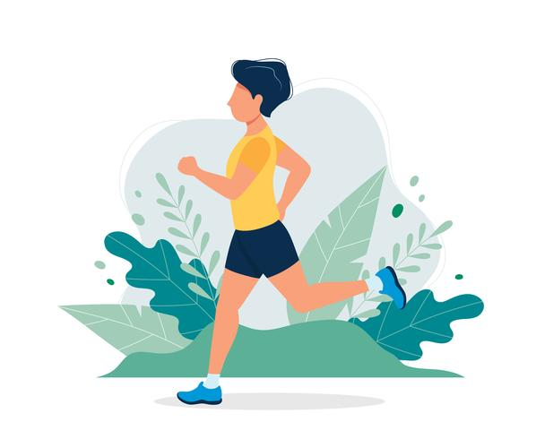 Homem feliz correndo no parque. Vector a ilustração no estilo liso, ilustração do conceito para o estilo de vida saudável, esporte, exercitando.