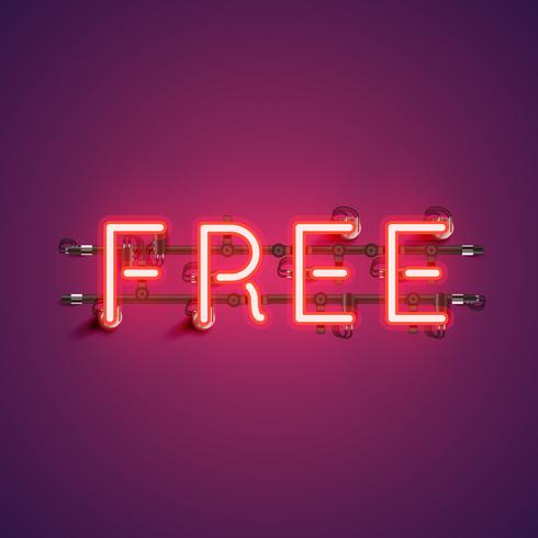 Neon realistic word 'FREE' for advertising, vector illustration