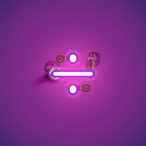 Pink realistic neon character with wires and console from a fontset, vector illustration