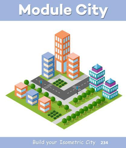Urban Isometric skyscraper vector