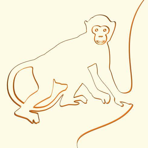 3D line art monkey animal illustration, vector illustration