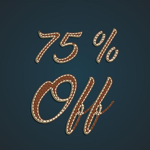 Jeu de pourcentage de cuir réaliste, illustration vectorielle