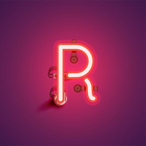 Carattere al neon realistico rosso con fili e console da un fontset, illustrazione vettoriale