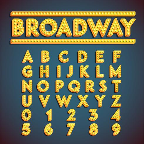 'Broadway' fontset com lâmpadas, ilustração vetorial