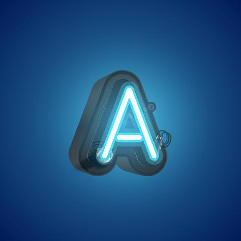 Realistisk neon karaktär från en uppsättning med konsol, vektor illustration