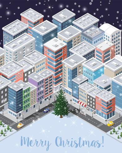 Christmas winter city background
