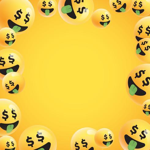 Gruppe hohe ausführliche gelbe Emoticons, Vektorillustration