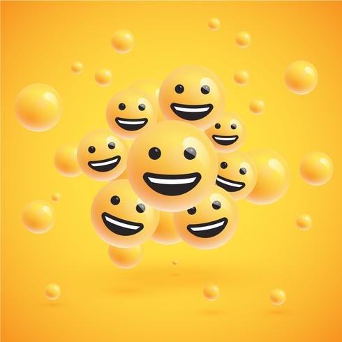 A high detailed group of emoticons on a yellow background, vector illustration
