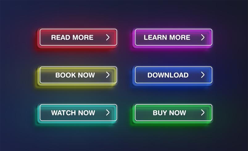 Haut néon détaillé des boutons, illustration vectorielle