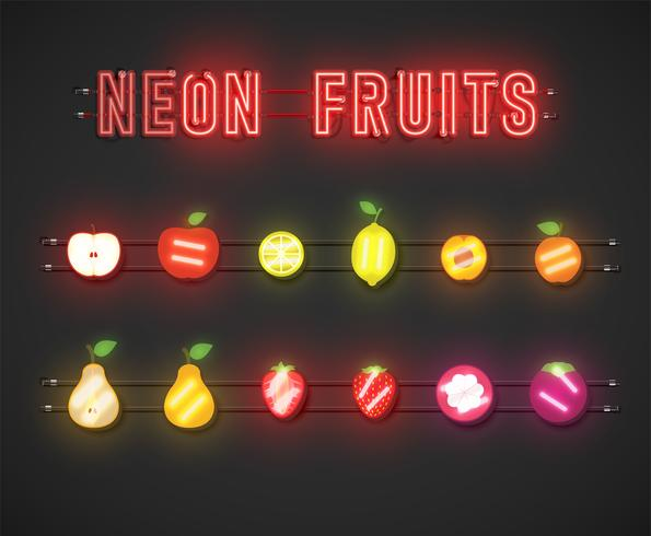 Realistic neon fruit set with console, vector illustration