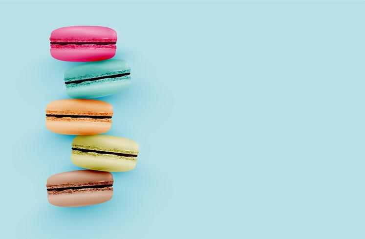 High detailed colourful macarons on blue background, vector illustration