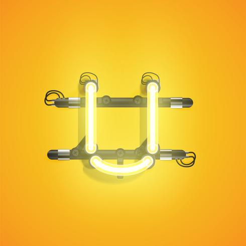 High detailed neon character from a set, vector illustration