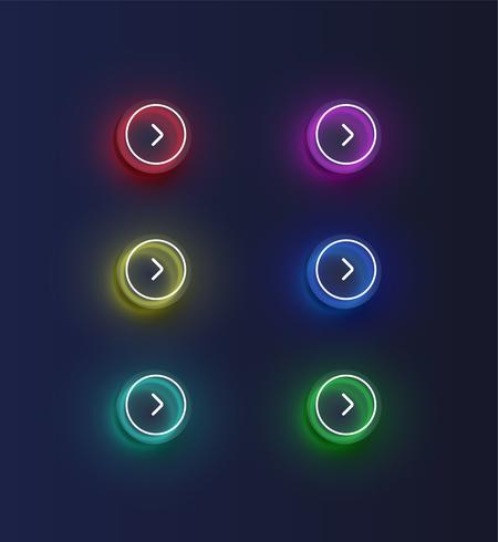 Colorful neon 'next' button set with an arrow for websites or online usage, vector illustration