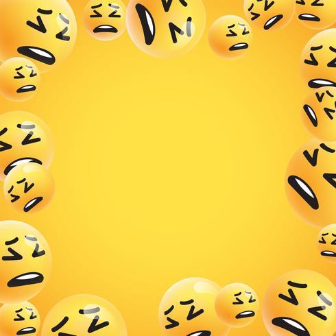 Grupo de altos emoticonos amarillos detallados, ilustración vectorial vector