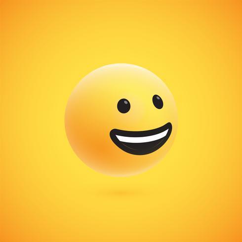 Söt hög detaljerad gul 3D-uttryckssymbol för webben, vektor illustration