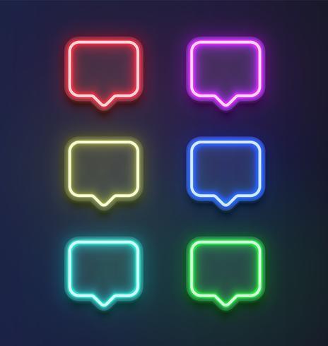 High detailed neon colorful speech bubble set. vector illustration