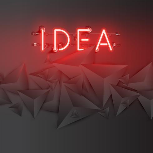 Palabra de neón con triángulos 3D oscuros abstractos, ilustración vectorial