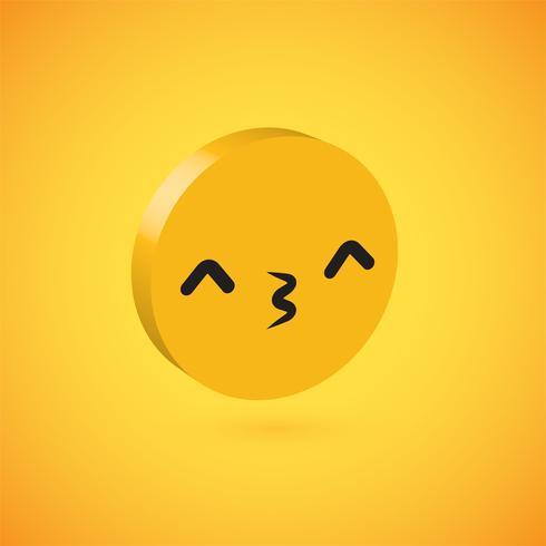 Emoticon de disco 3D alto detallado amarillo, ilustración vectorial