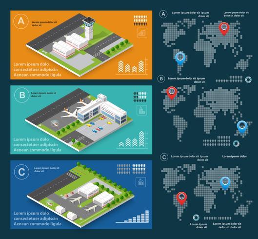 Infografica di aeroporto di voli di trasporto