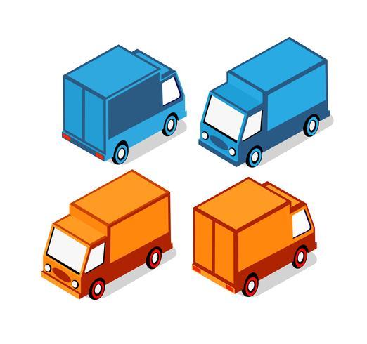 Isometrische set auto's en vrachtwagens