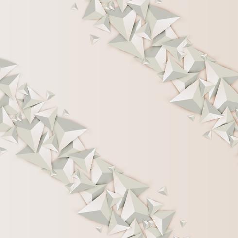 Triángulos abstractos 3D sobre fondo claro, ilustración vectorial