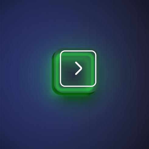 Colorful neon 'next' button with an arrow for websites or online usage, vector illustration