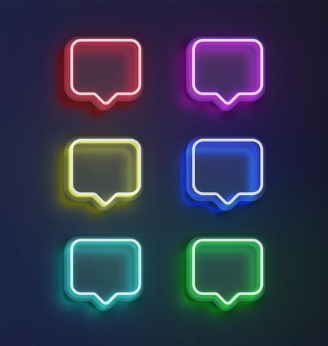 Jeu de bulles colorées hautes détaillées néon détaillées. illustration vectorielle