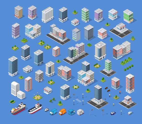 Elementi di design di paesaggio urbano con edificio isometrica