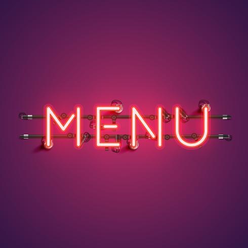 Neon realistisch woord 'MENU' voor reclame, vectorillustratie