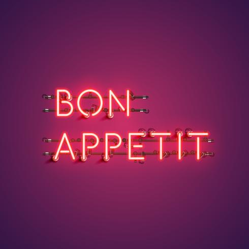 Neon realistic words 'BON APPETIT' for advertising, vector illustration