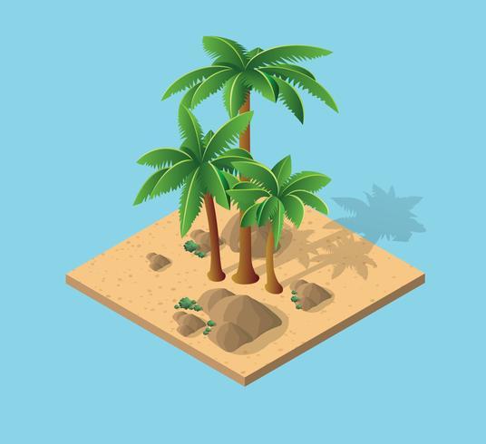 Natural Desert landscape isometric palm