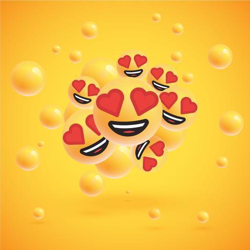 Un grand groupe d'émoticônes sur fond jaune, illustration vectorielle
