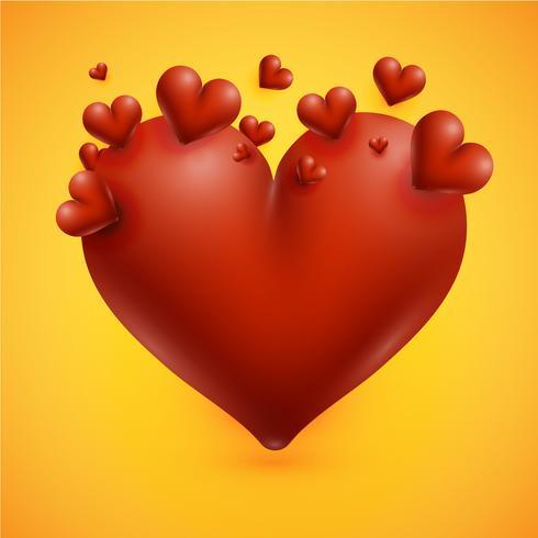 Altos corazones detallados sobre un fondo amarillo, ilustración vectorial