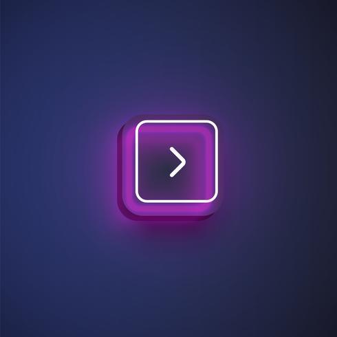 Bunter Neonknopf mit einem Pfeil für Website oder Online-Gebrauch, Vektorillustration