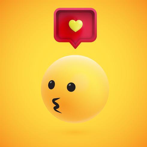 Émoticône 3D jaune très détaillée avec bulle de dialogue et coeur pour le web, illustration vectorielle