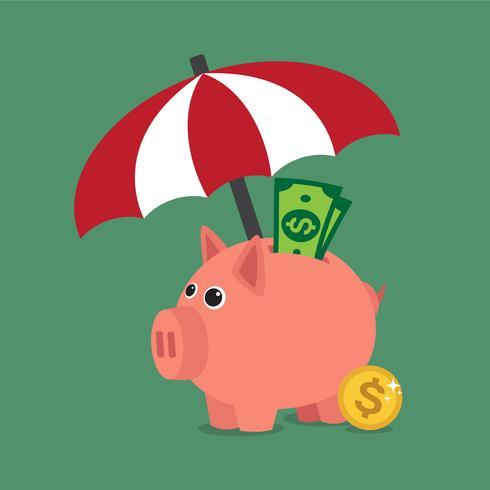 Regenschirm zum Schutz von Geld