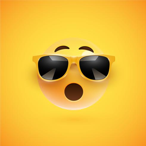 High-detailed 3D smiley with sunglasses on a colorful background, vector illustration