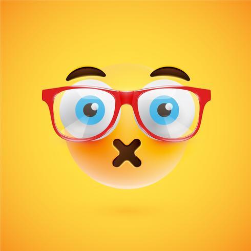 3D gele emoticon met brillen, vectorillustratie