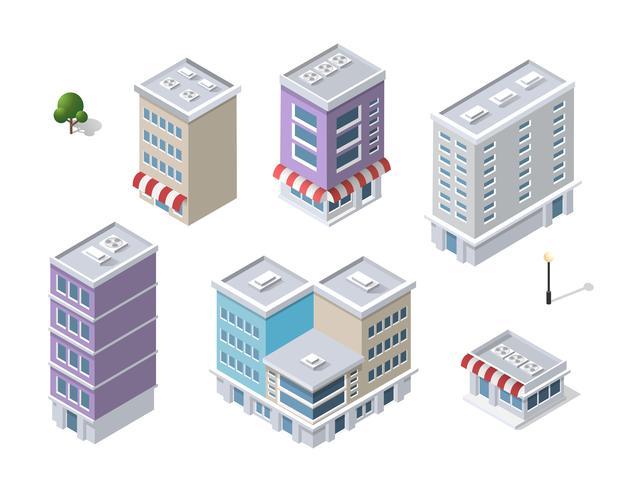 Set of modern isometric buildings  vector