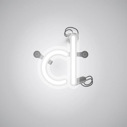 Grijs realistisch neonkarakter met draden en console van een fontset, vectorillustratie